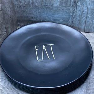 "Rae Dunn EAT 11"" black LL plate NEW!"